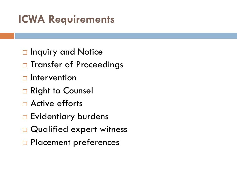 ICWA Requirements Inquiry and Notice Transfer of Proceedings