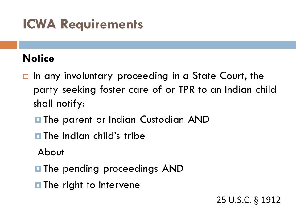 ICWA Requirements Notice