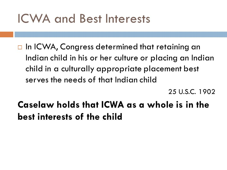 ICWA and Best Interests