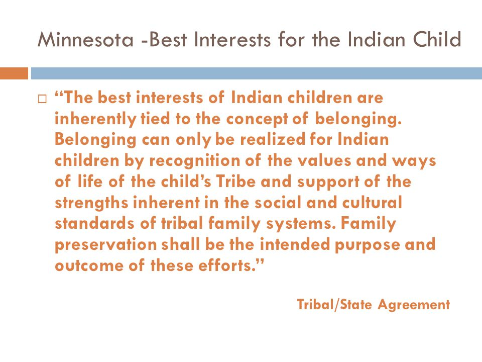 Minnesota -Best Interests for the Indian Child
