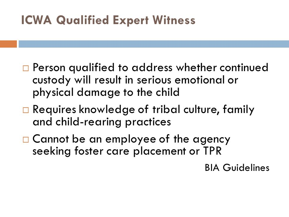 ICWA Qualified Expert Witness