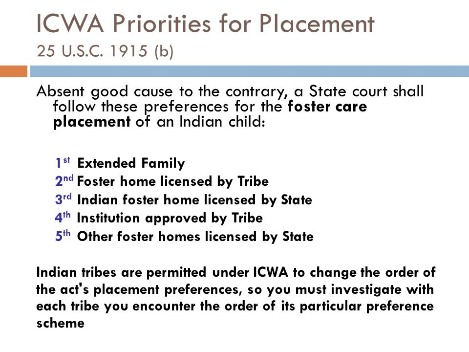 ICWA Priorities for Placement 25 U.S.C. 1915 (b)