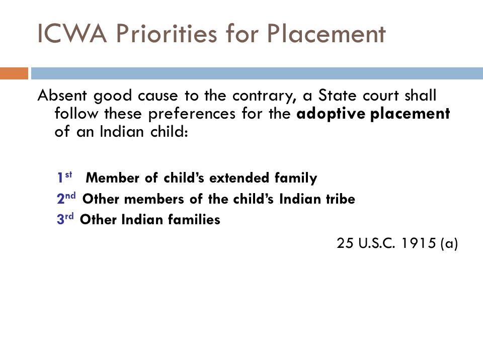 ICWA Priorities for Placement