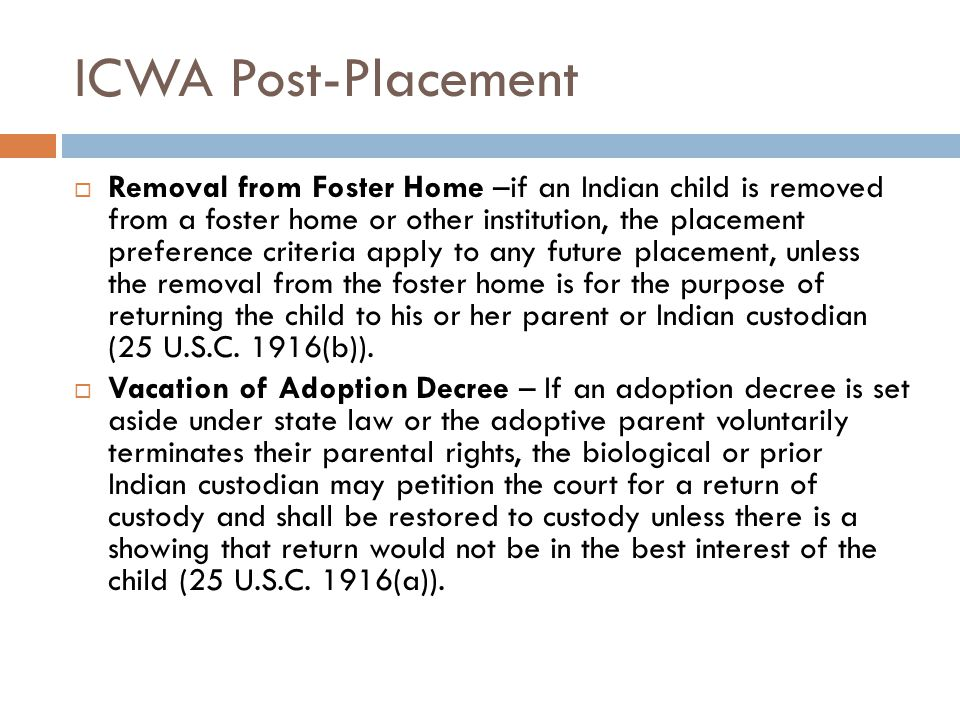 ICWA Post-Placement