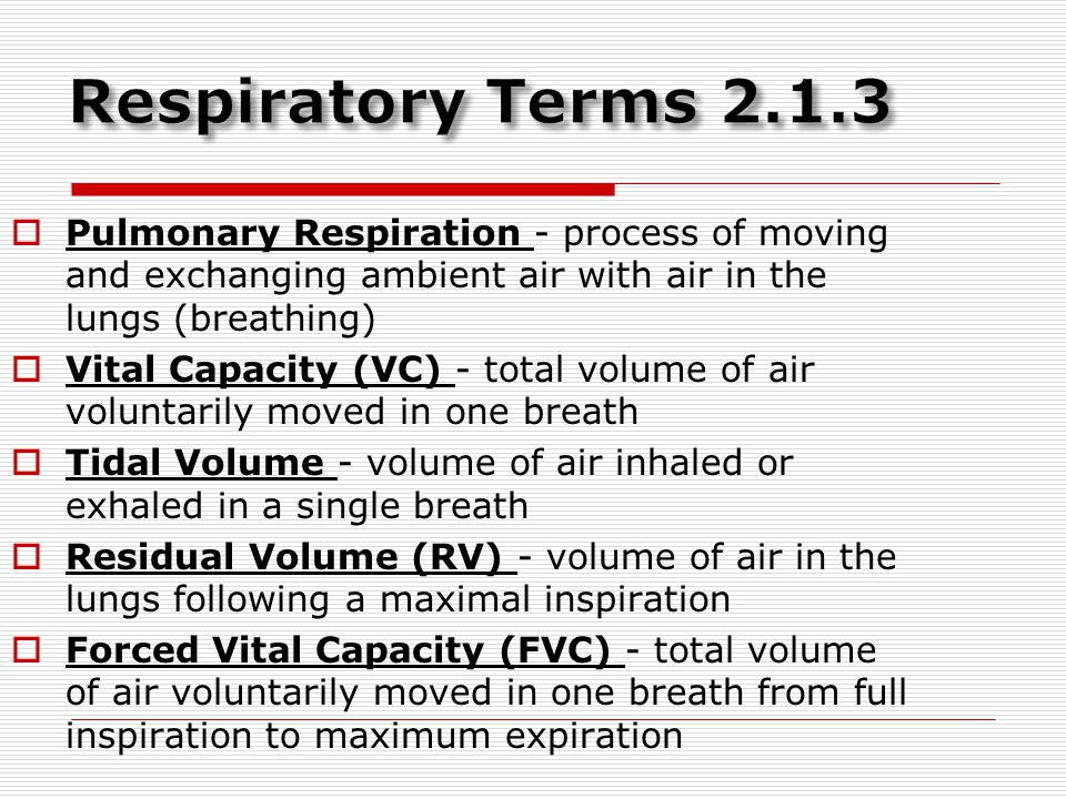 Respiratory Terms 2.1.3 Pulmonary Respiration - process of moving and exchanging ambient air with air in the lungs (breathing)