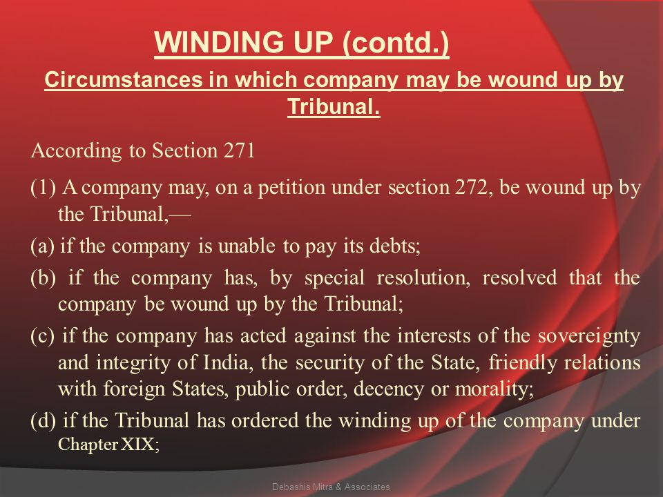 Circumstances in which company may be wound up by Tribunal.