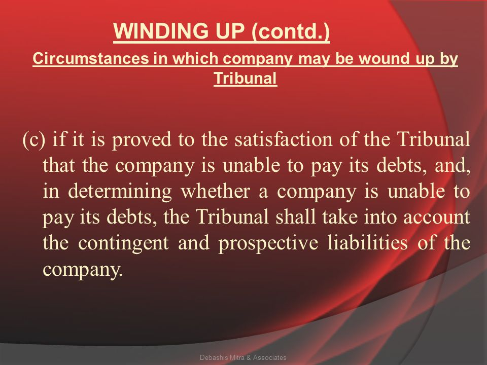 Circumstances in which company may be wound up by Tribunal