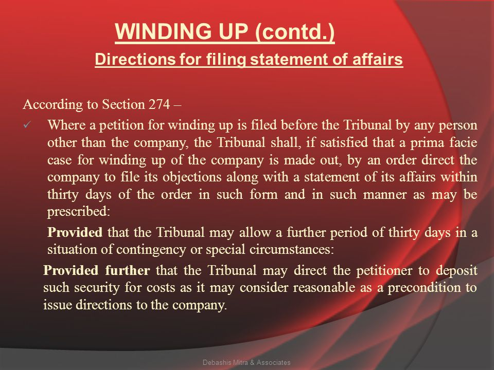 Directions for filing statement of affairs