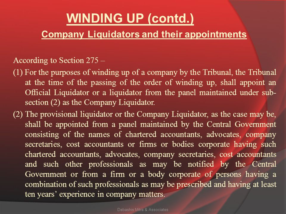 Company Liquidators and their appointments
