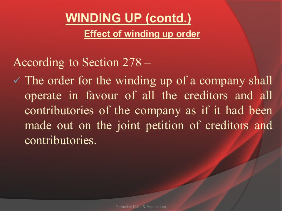 Effect of winding up order