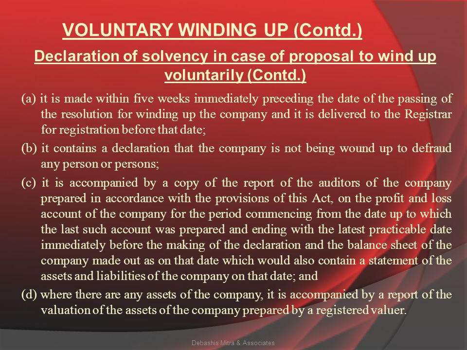 VOLUNTARY WINDING UP (Contd.)