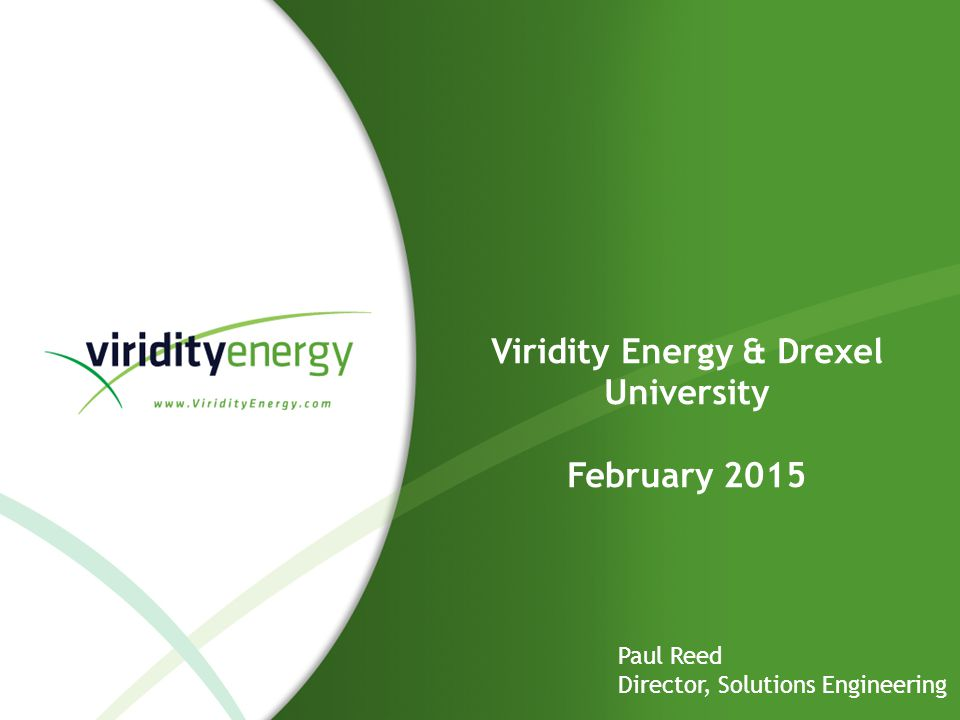 Viridity Energy & Drexel University