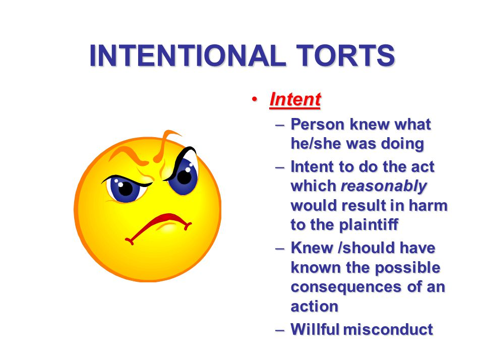 INTENTIONAL TORTS Intent Person knew what he/she was doing