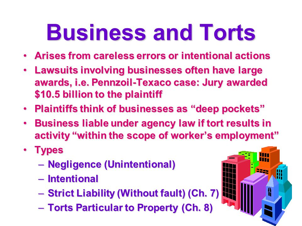 Business and Torts Arises from careless errors or intentional actions