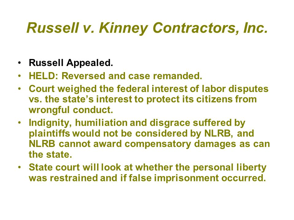 Russell v. Kinney Contractors, Inc.