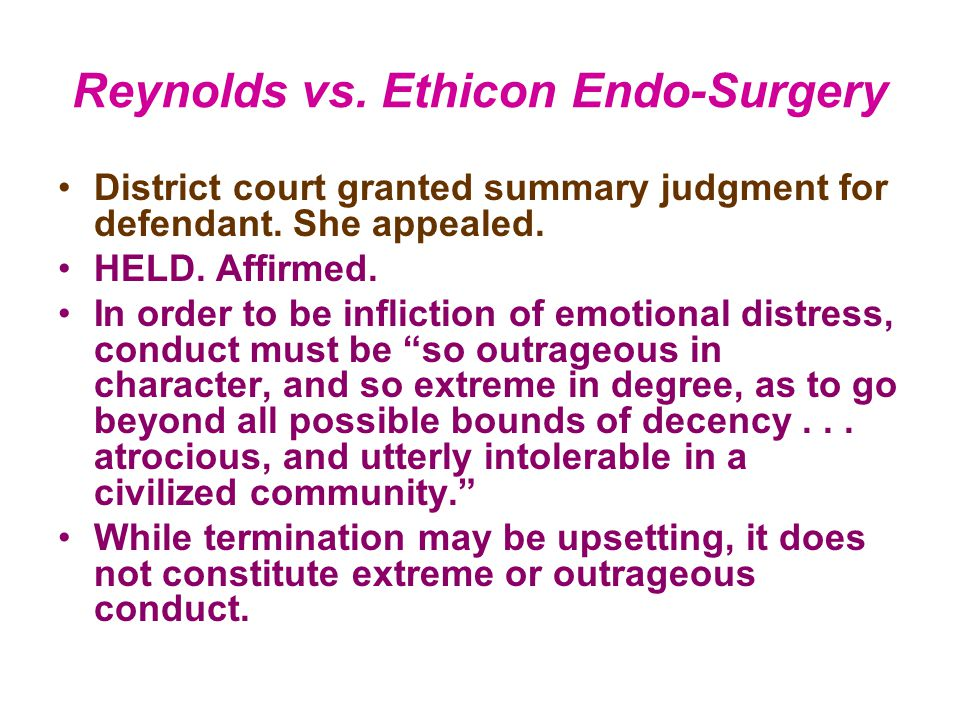 Reynolds vs. Ethicon Endo-Surgery