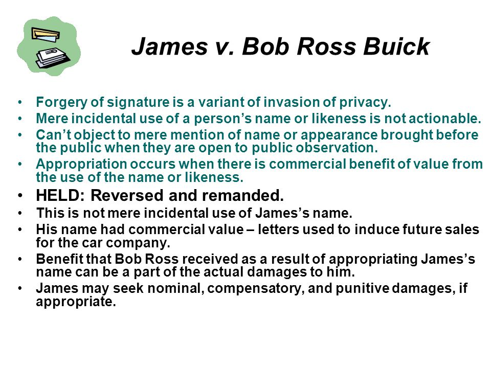 James v. Bob Ross Buick HELD: Reversed and remanded.