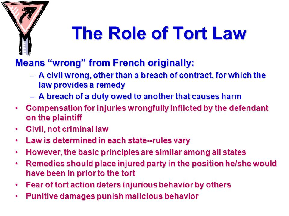 The Role of Tort Law Means wrong from French originally: