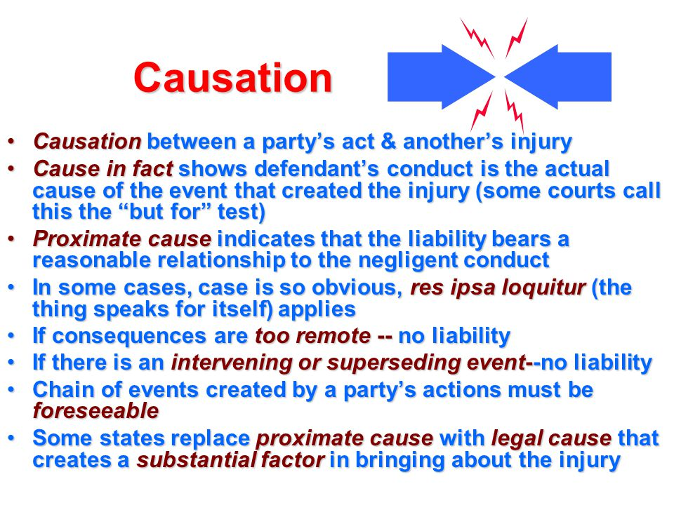 Causation Causation between a party's act & another's injury