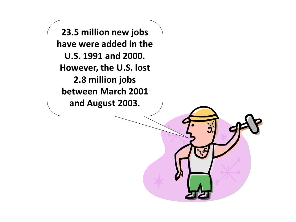 23. 5 million new jobs have were added in the U. S. 1991 and 2000