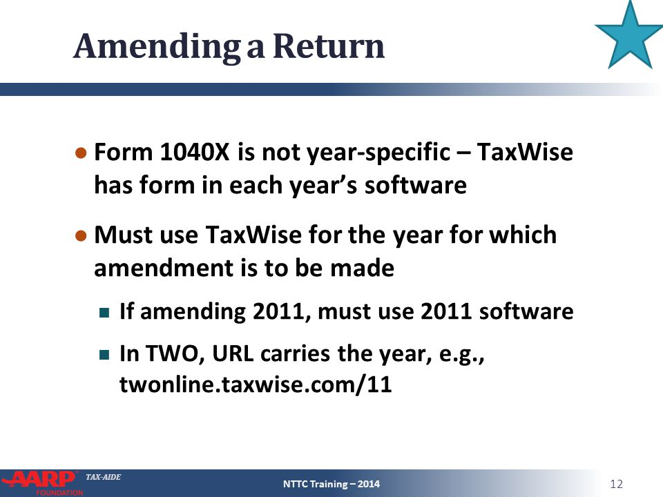 Amending a Return Form 1040X is not year-specific – TaxWise has form in each year's software.