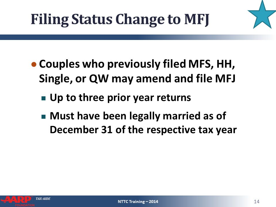 Filing Status Change to MFJ
