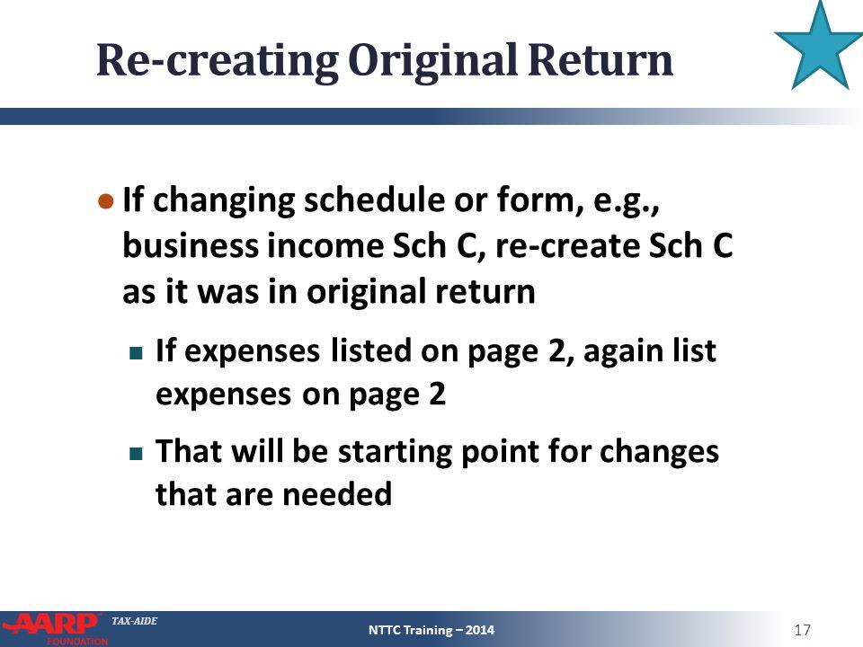 Re-creating Original Return
