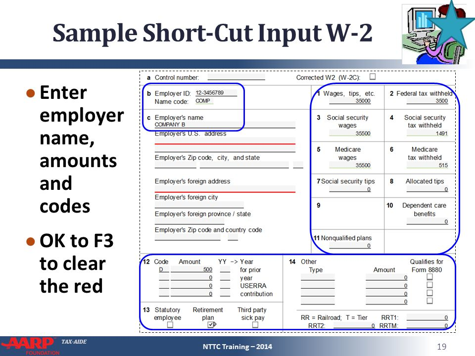 Sample Short-Cut Input W-2