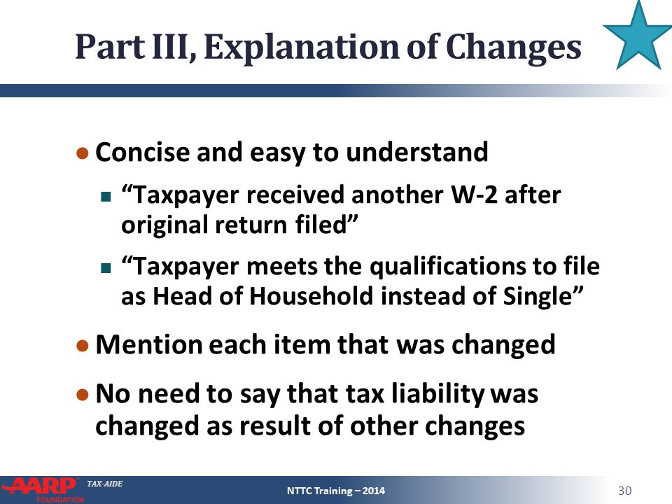 Part III, Explanation of Changes
