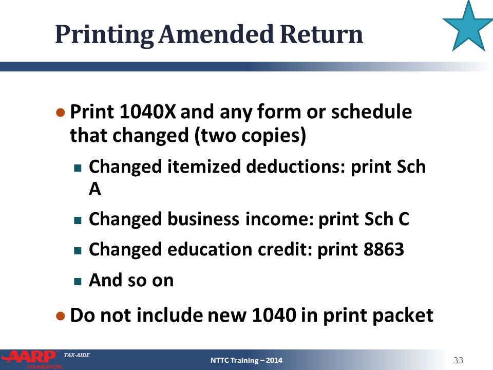 Printing Amended Return