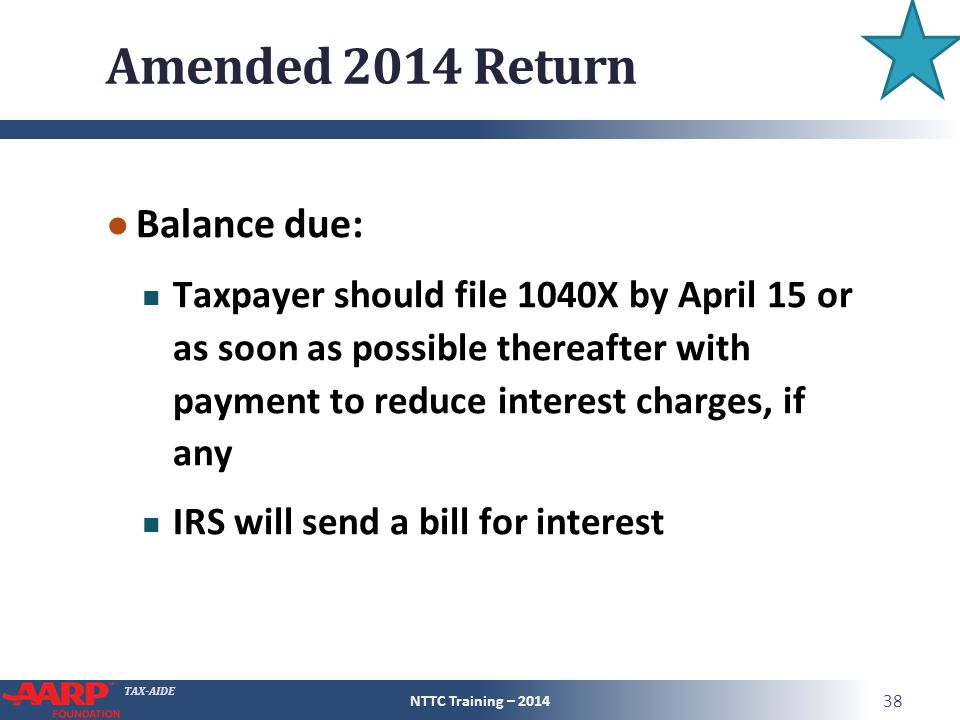 Amended 2014 Return Balance due: