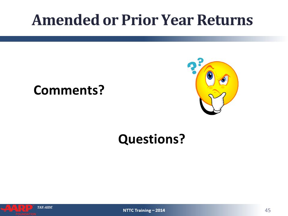 Amended or Prior Year Returns