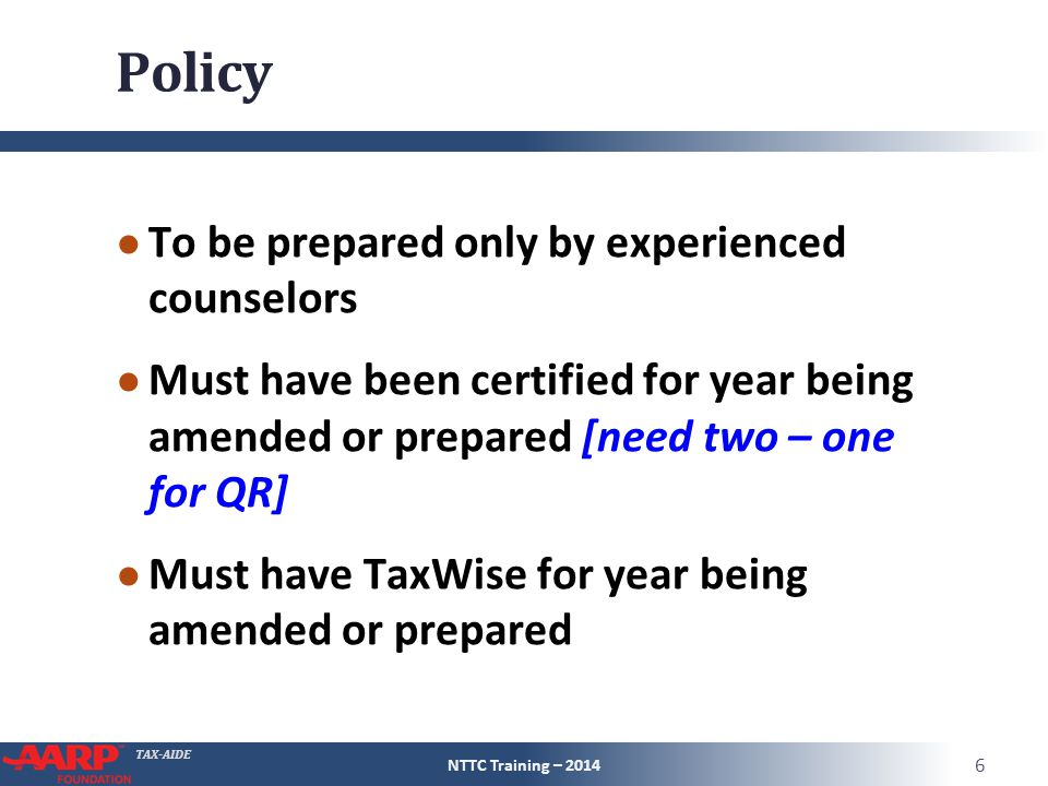 Policy To be prepared only by experienced counselors