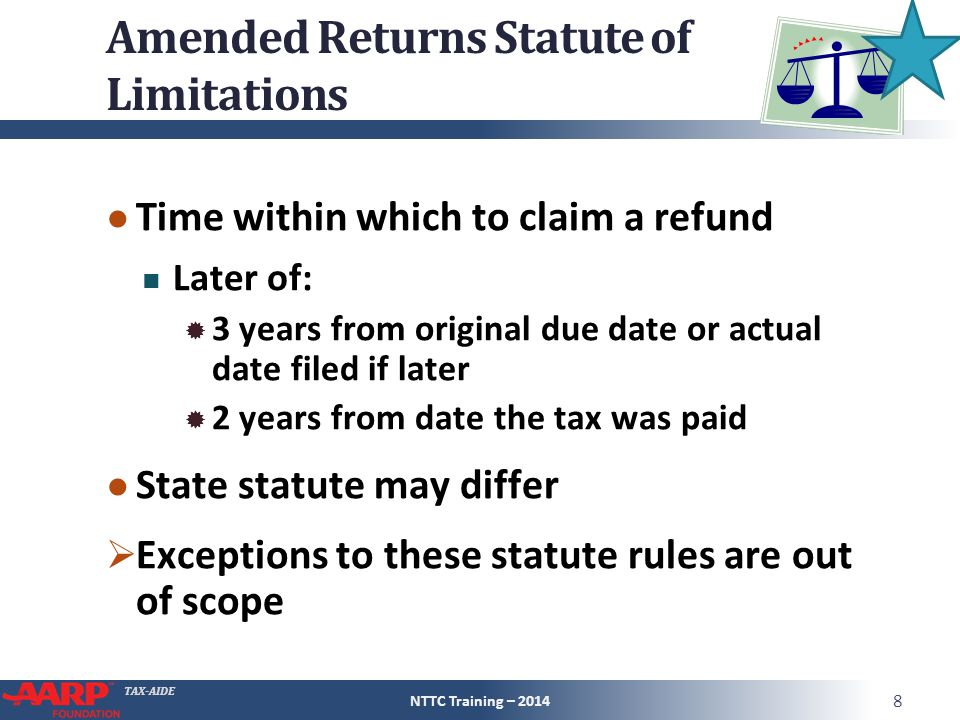 Amended Returns Statute of Limitations