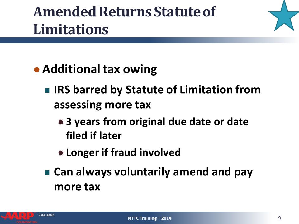 Amended Returns Statute of Limitations