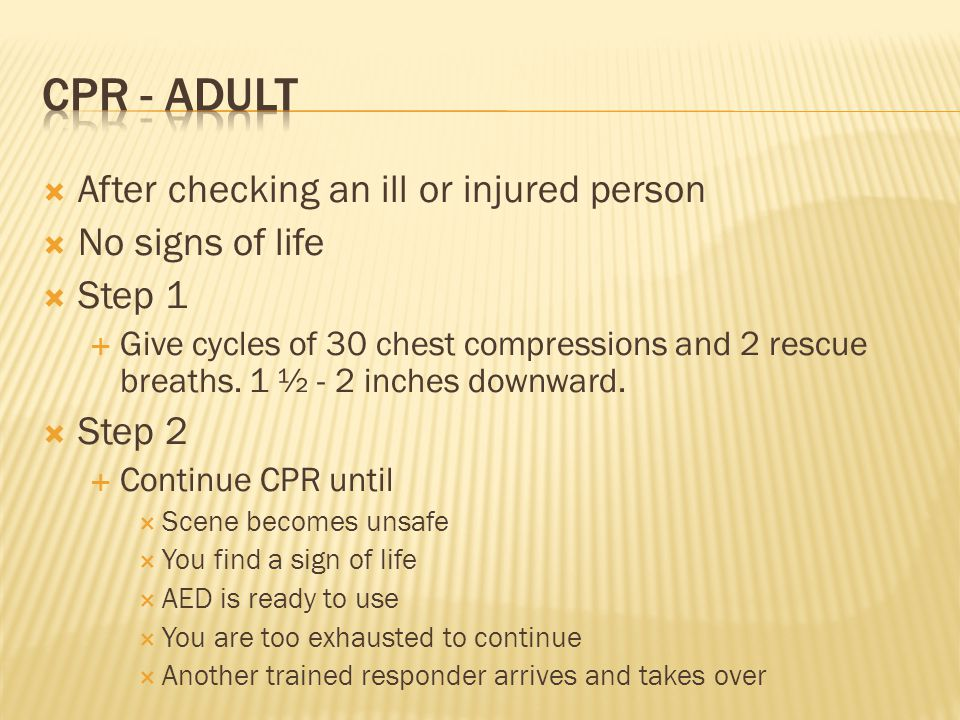CPR - adult After checking an ill or injured person No signs of life