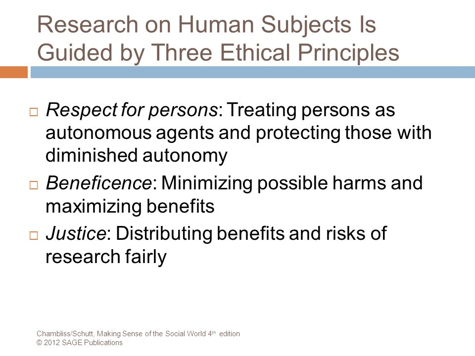Research on Human Subjects Is Guided by Three Ethical Principles