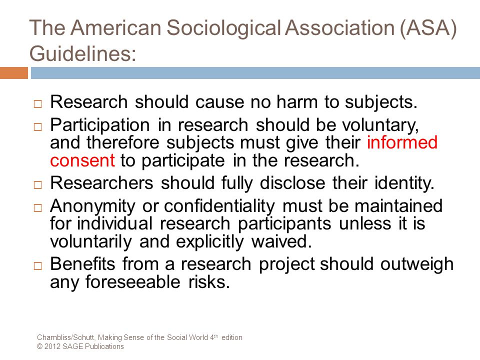 The American Sociological Association (ASA) Guidelines: