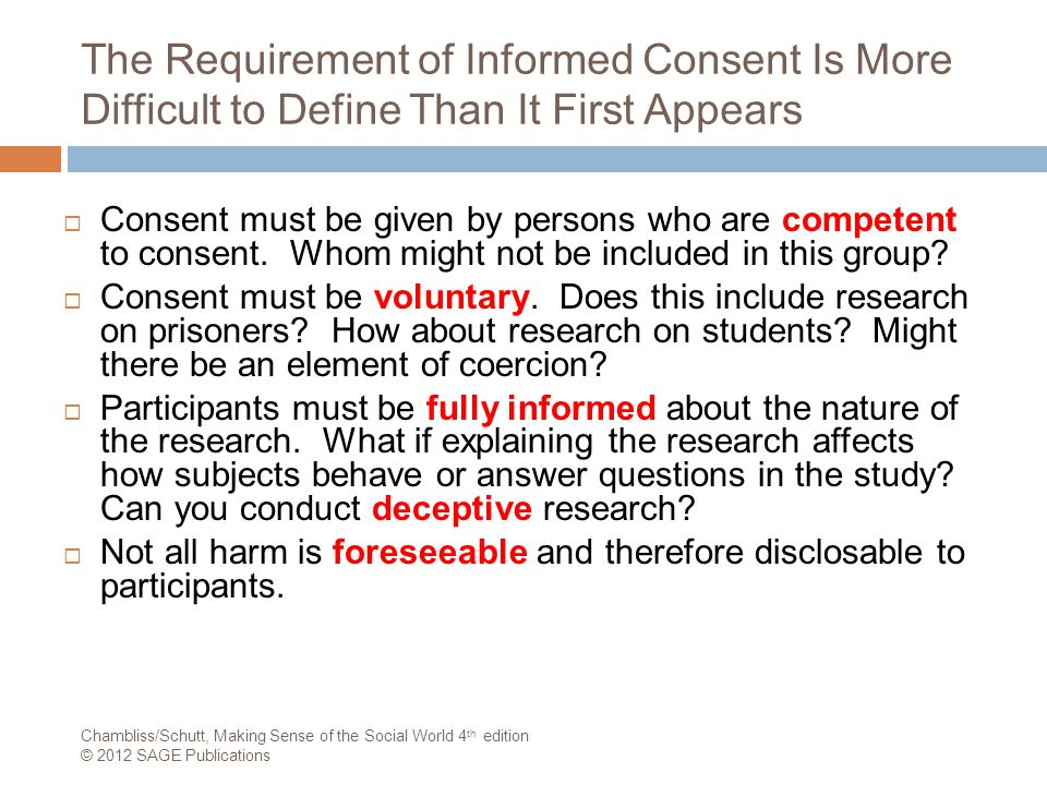 The Requirement of Informed Consent Is More Difficult to Define Than It First Appears