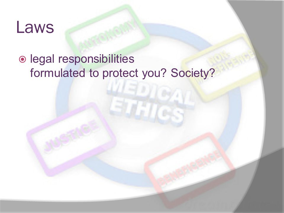 Laws legal responsibilities formulated to protect you Society