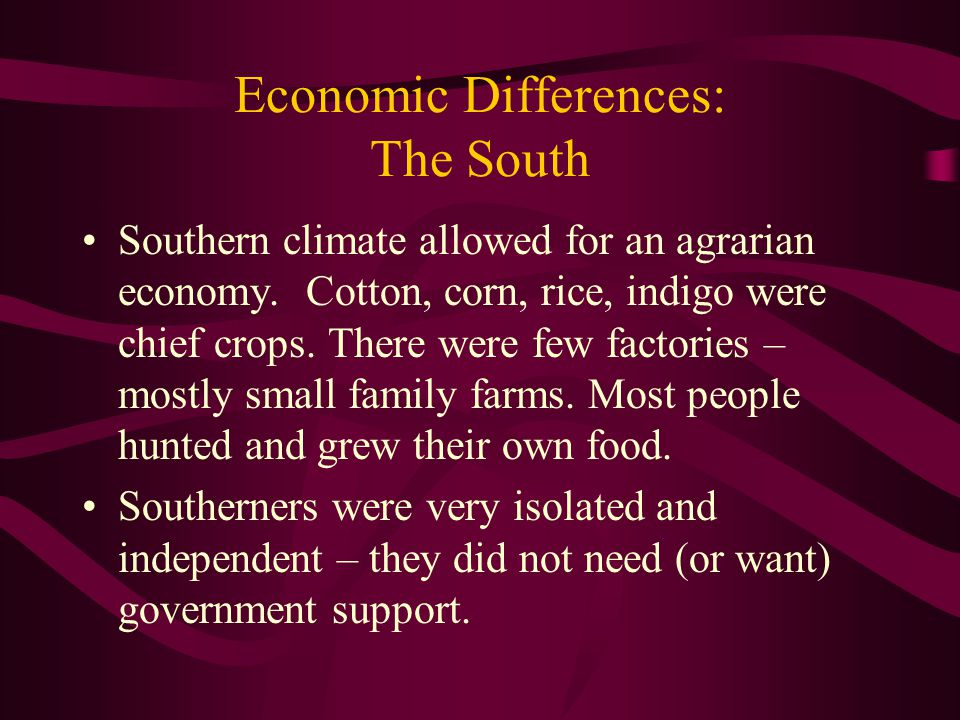 Economic Differences: The South