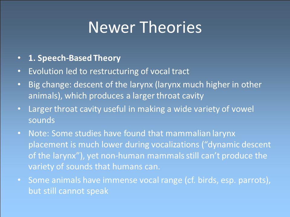 Newer Theories 1. Speech-Based Theory