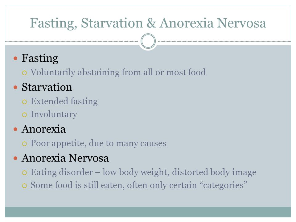 Fasting, Starvation & Anorexia Nervosa