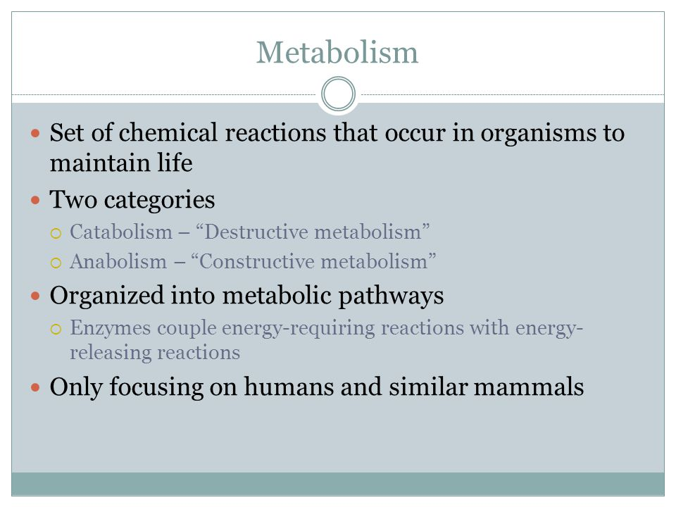 Metabolism Set of chemical reactions that occur in organisms to maintain life. Two categories. Catabolism – Destructive metabolism