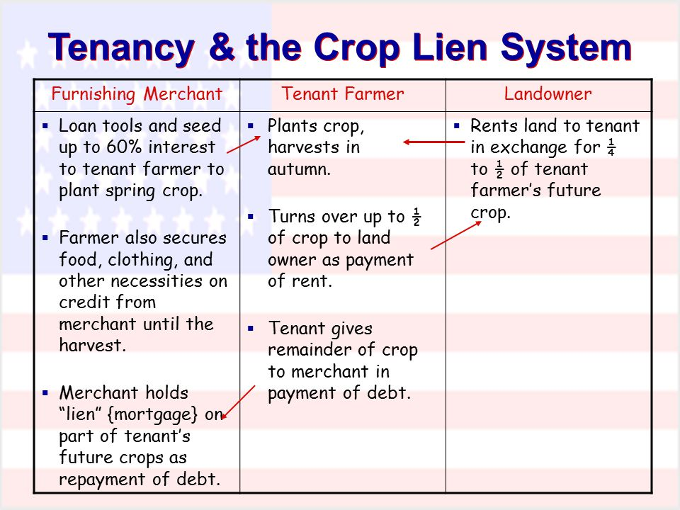 Tenancy & the Crop Lien System
