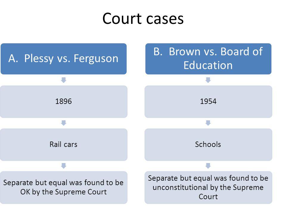 Court cases B. Brown vs. Board of Education A. Plessy vs. Ferguson