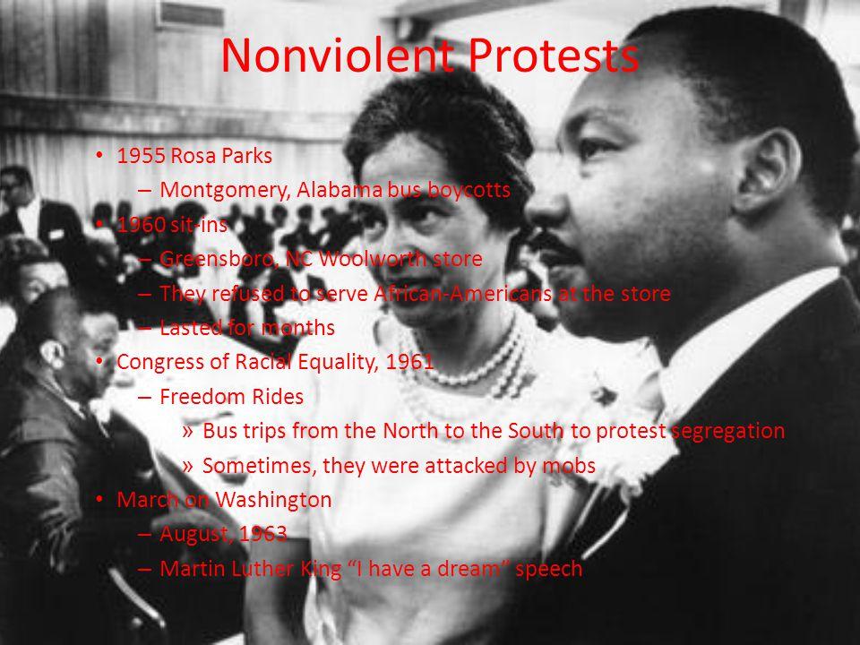Nonviolent Protests 1955 Rosa Parks Montgomery, Alabama bus boycotts