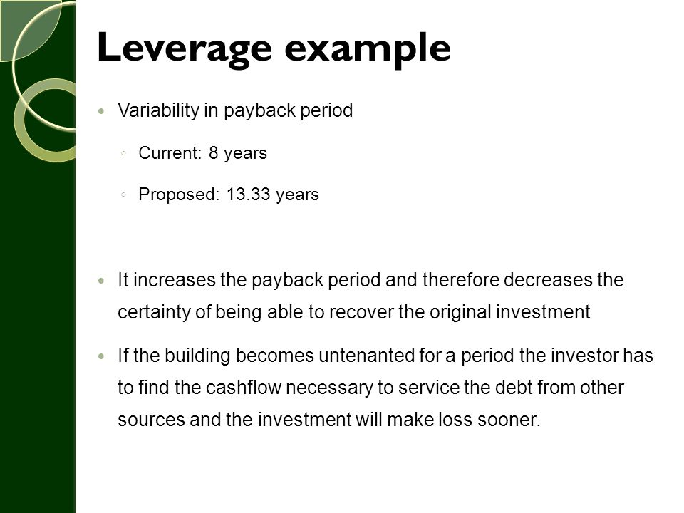 Leverage example Variability in payback period