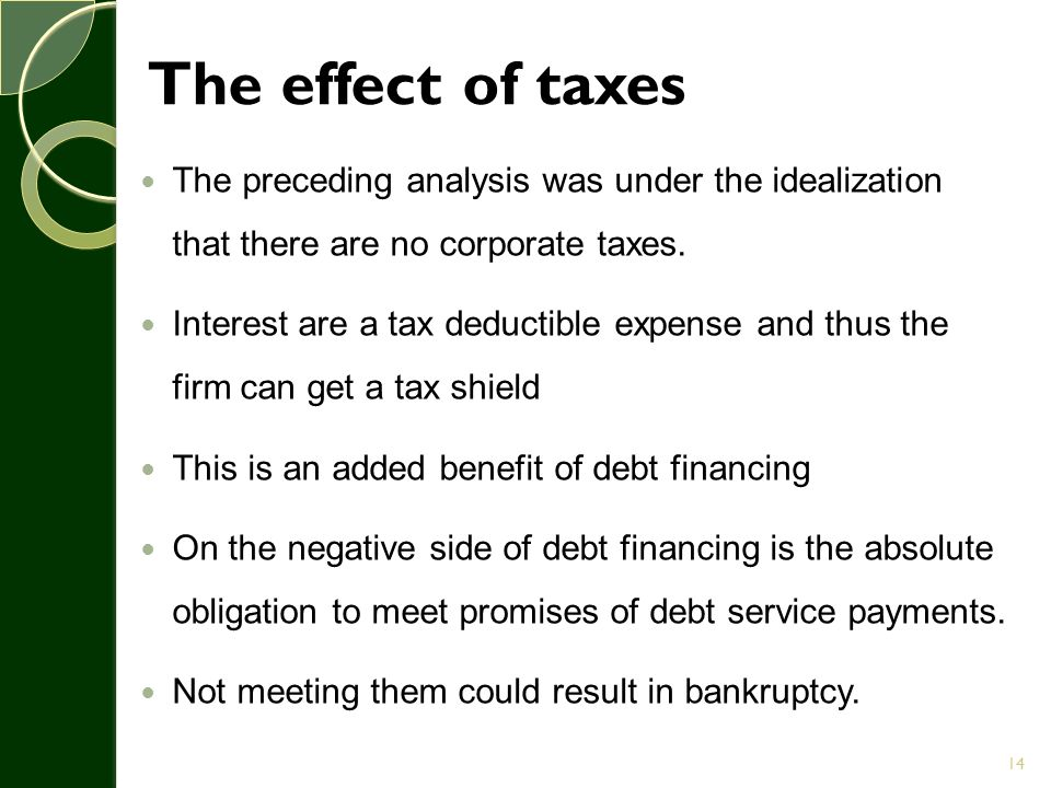 The effect of taxes The preceding analysis was under the idealization that there are no corporate taxes.