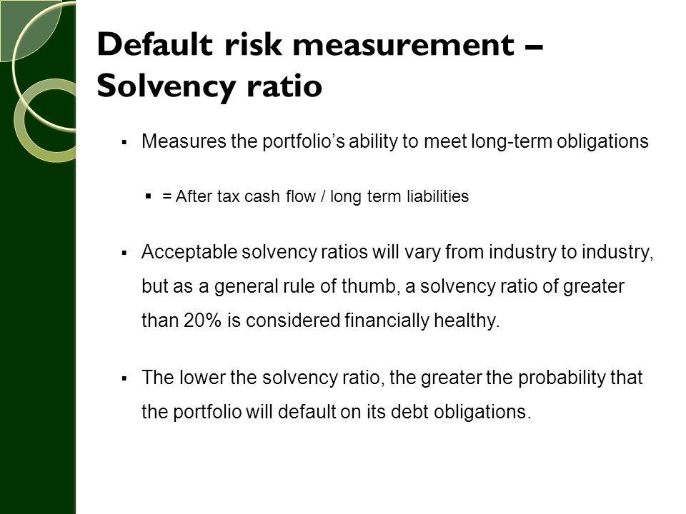 Default risk measurement – Solvency ratio